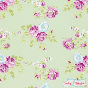 Quilt Fabric - Zoey's Garden Green Rose