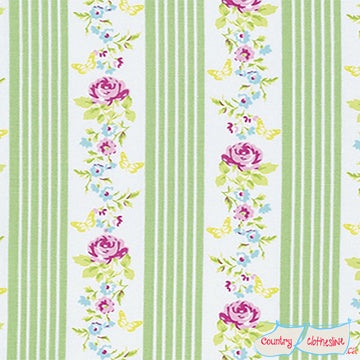 Quilt Fabric - Zoey's Garden Green Stripe