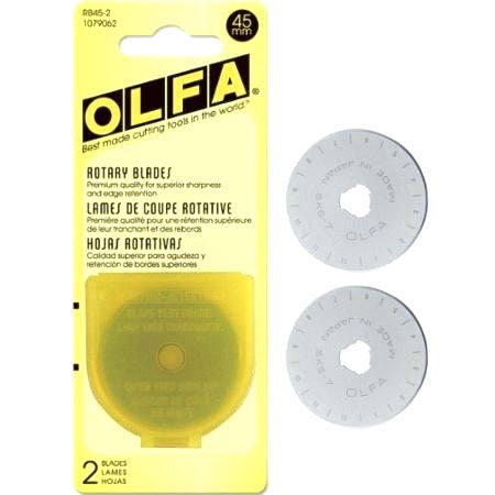 Olfa 45mm Replacement Rotary Blades - Pack of 2