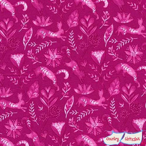 Frolic Frolicking Raspberry fabric by Tamara Kate for Michael Miller