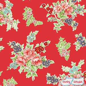 Katie Jane Bouquet Red fabric by Makower