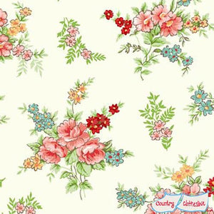 Katie Jane Bouquet Ivory fabric by Makower