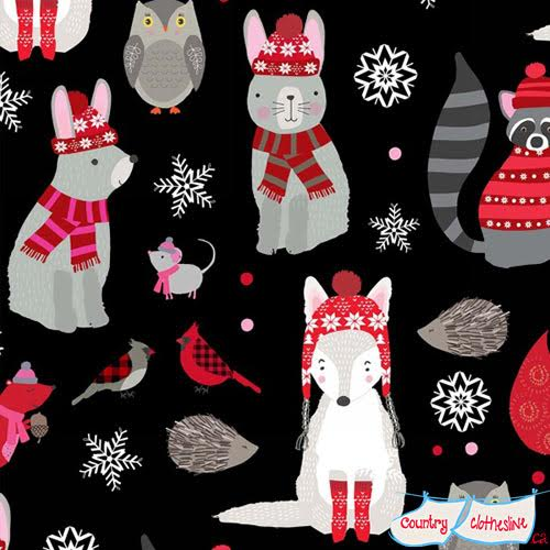 Snow Delightful Woodland Animals Quilt Fabric by Natalie Alex for Studio e Fabrics