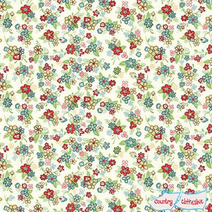 Katie Jane Multi Floral Ivory fabric by Makower