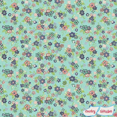 Katie Jane Multi Floral Turquoise fabric by Makower