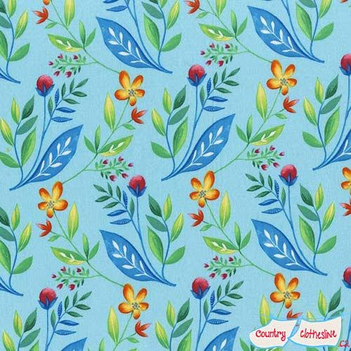 Frolic Maggie Jean Sky floral fabric by Tamara Kate for Michael Miller