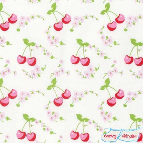 Rambling Rose Cherries quilt fabric by Tanya Whelan for freespirit