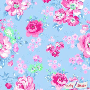 Doodads Blue Floral fabric for Gordon fabrics