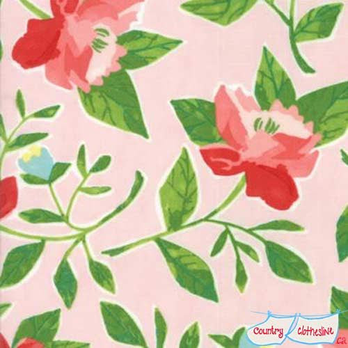 Hazelwood Coral Peonies Quilt fabric by One Canoe Two for Moda
