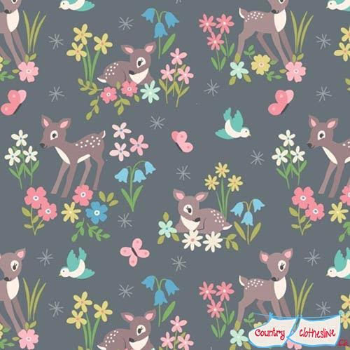 So Darling Little Deer on Grey fabric by Lewis and Irene