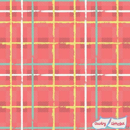 Mad Plaid Electric Watermelon fabric by Art Gallery