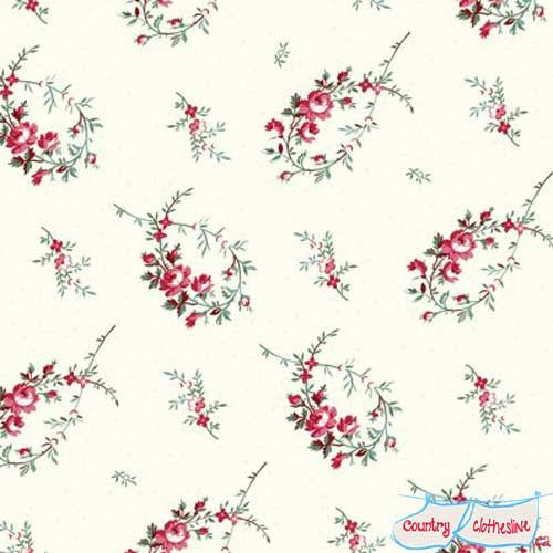 Raspberry & Cream Floral Branches quilt fabric by Marsha McCloskey for Clothworks