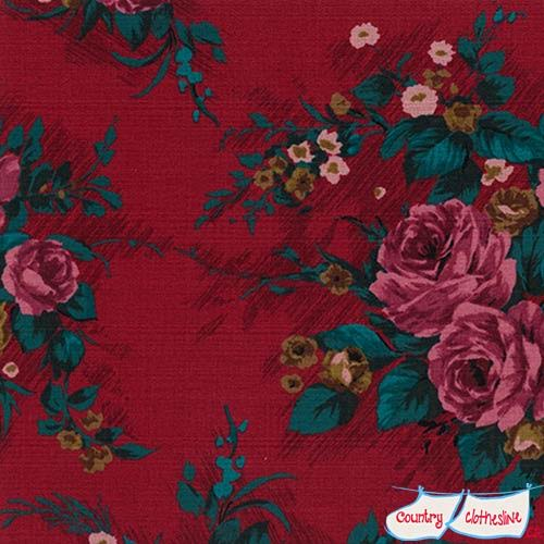 Outback Wife Elizabeth Red Barkcloth fabric