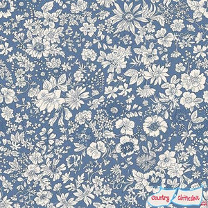 Liberty of London Emily Silhouette Blue Lasenby Cotton
