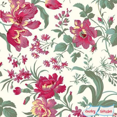 Raspberry & Cream Large Floral quilt fabric by Marsha McCloskey for Clothworks