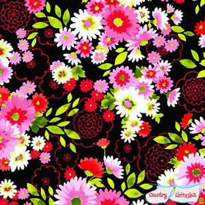 Laurel Canyon Bouquet Black fabric by Robert Kaufman