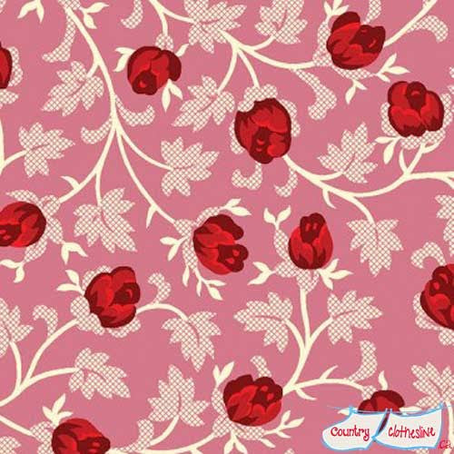 Raspberry & Cream Pink Rosebud quilt fabric by Marsha McCloskey for Clothworks