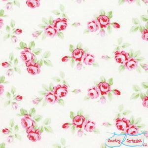 Rambling Rose Rosebuds White quilt fabric by Tanya Whelan for freespirit