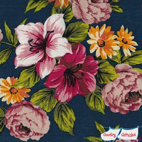 Outback Wife Elaine Navy Barkcloth Fabric by Gertrude Made