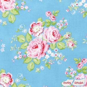 Rambling Rose Blue quilt fabric by Tanya Whelan for freespirit