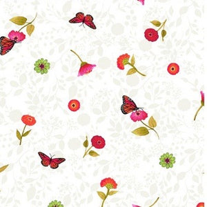 Zinnias in Bloom Monarch quilt fabric by Sue Zipkin for Clothworks with small butterflies and flowers scattered over a tone on tone white and ivory backing