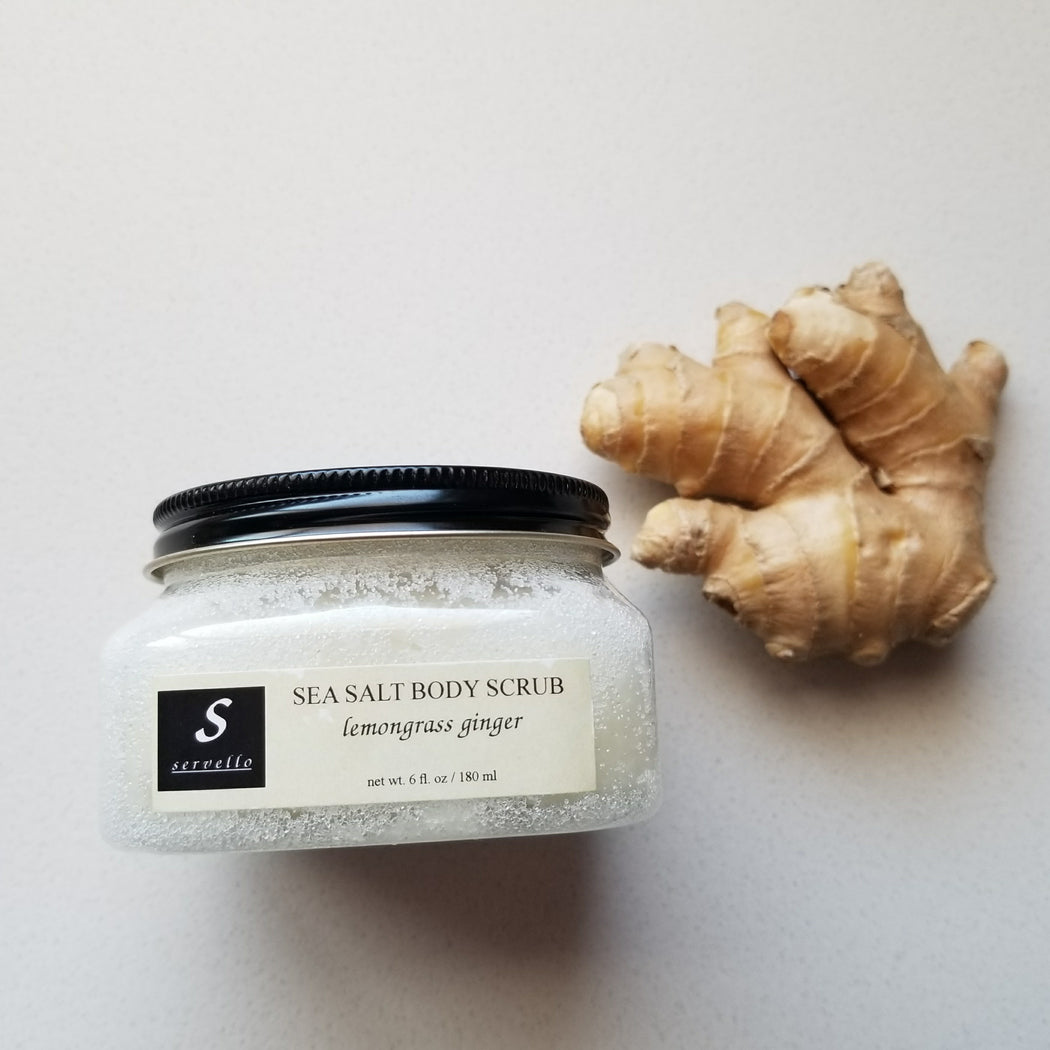 Servello Sea Salt Body Scrub (Lemongrass + Ginger)