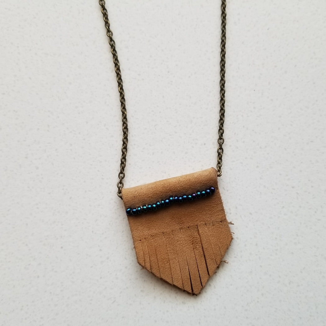 Leather Nubuck Chevron Necklace