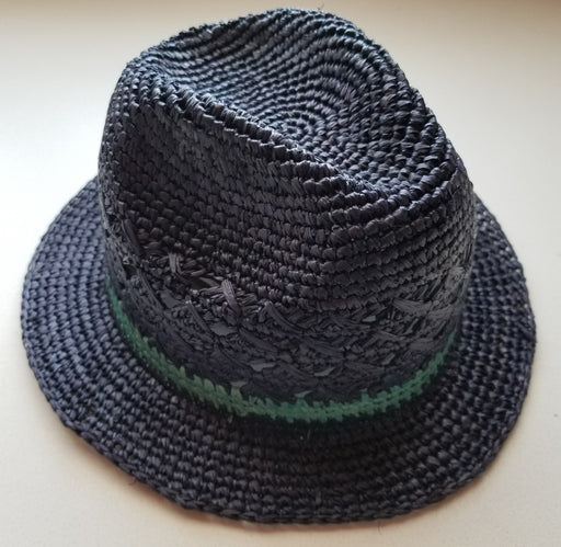 Avery Crochet Fedora in Navy