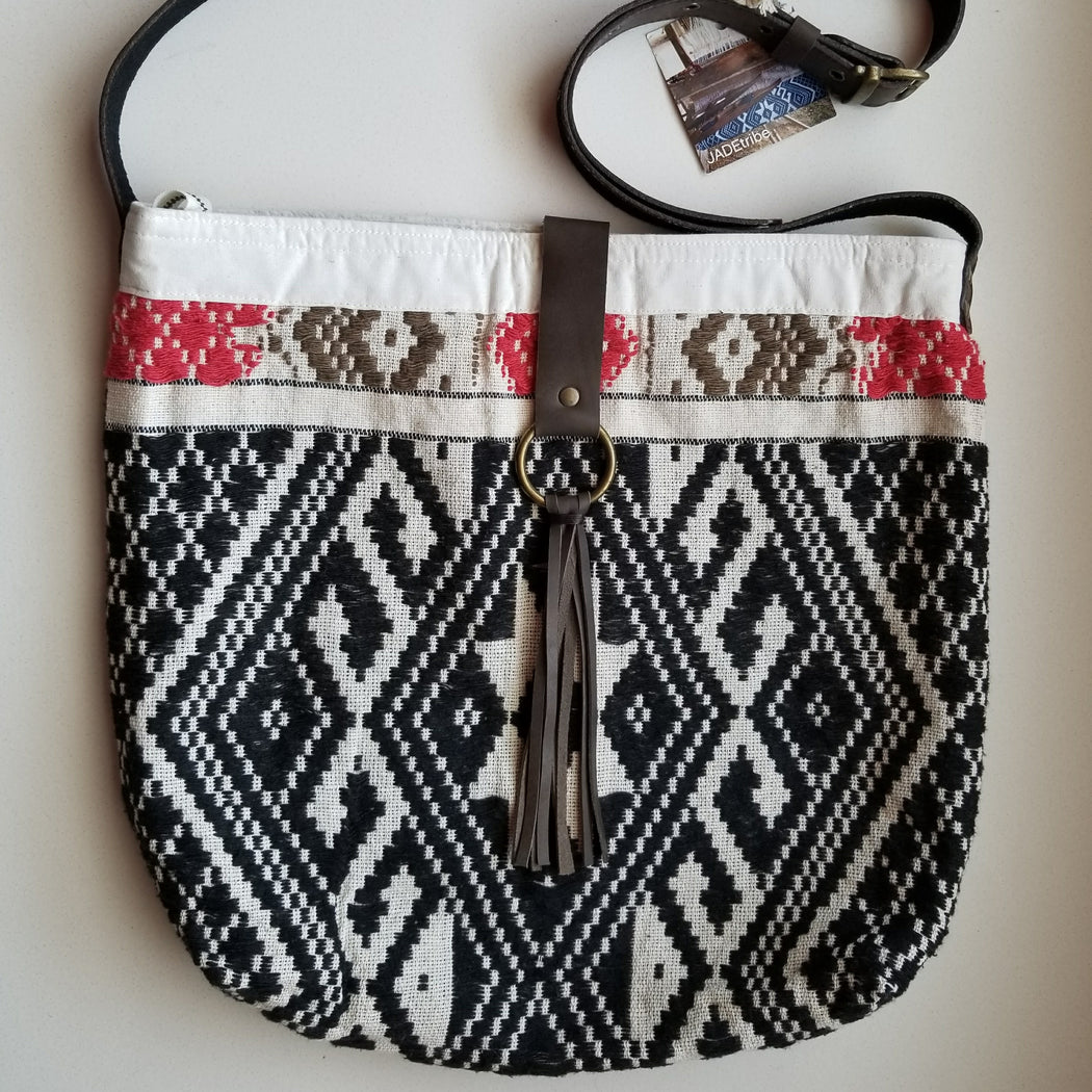 Nicole Tassel Messenger in Border Black