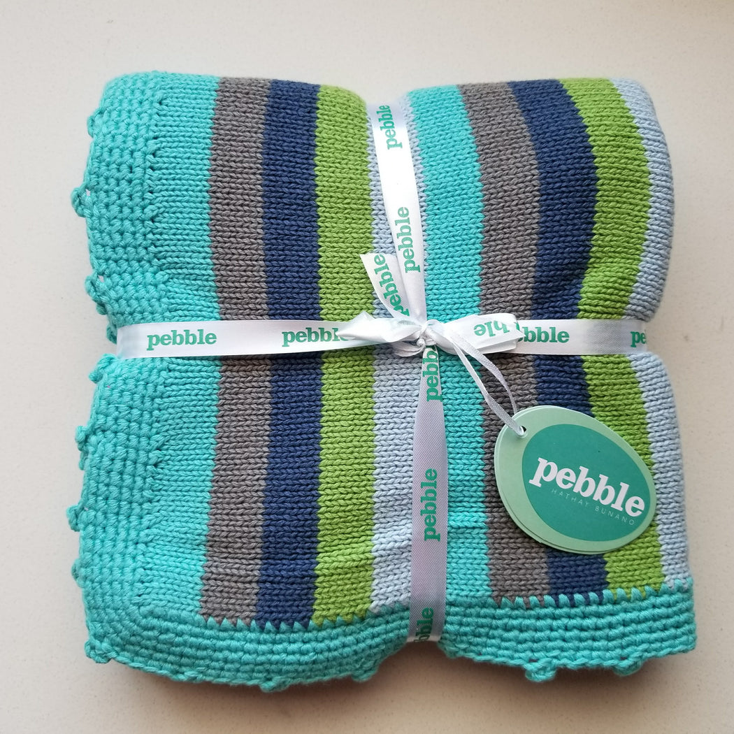 Pebble Organic Knit Baby Blanket in Blue Stripes