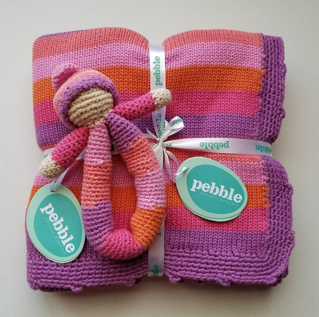 Pebble Organic Knit Baby Blanket in Pink Stripes