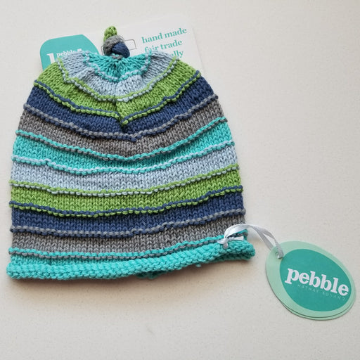 Pebble Stripey Baby Hat in Blue (6-12 months)