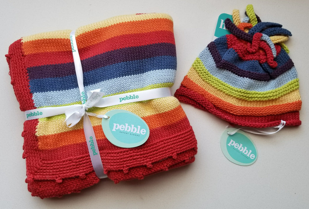 Pebble Stripey Baby Hat in Rainbow (0-6 months)