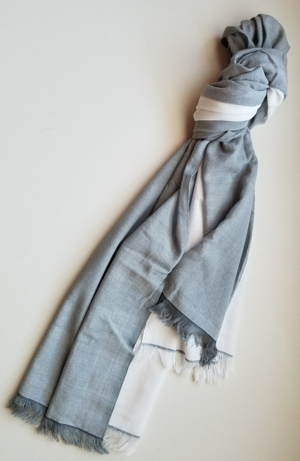 Alem Scarf in White & Mist Grey