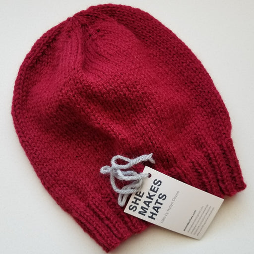 Knit Slouchy Hat in Cranberry