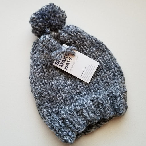 Knit Pom Hat in Multi Grey