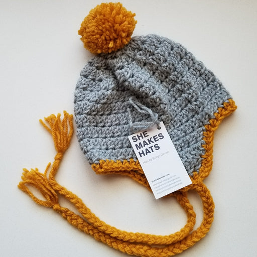 Knit Jesse Ear Flap Hat (Toddler in Grey + Goldenrod)