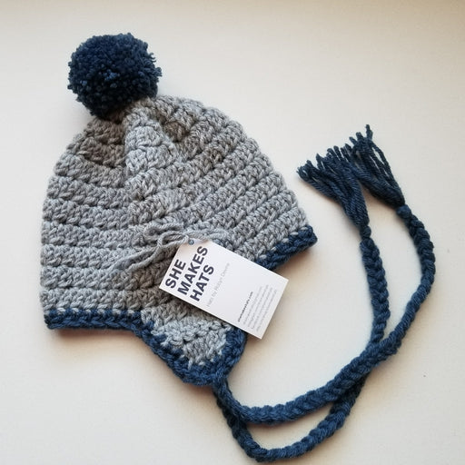 Knit Jesse Ear Flap Hat (Child/Teen in Grey + Blue)