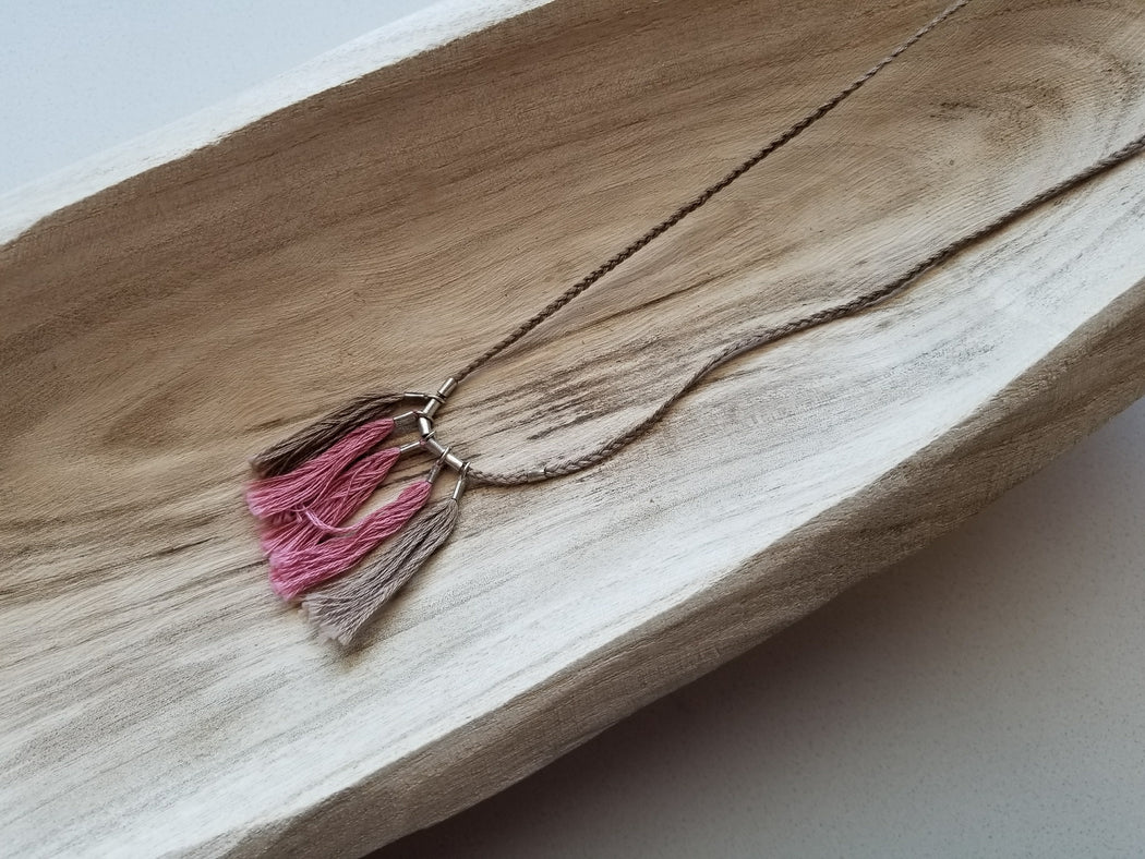 Alem: String Tassel Necklace in Taupe + Vintage Pink