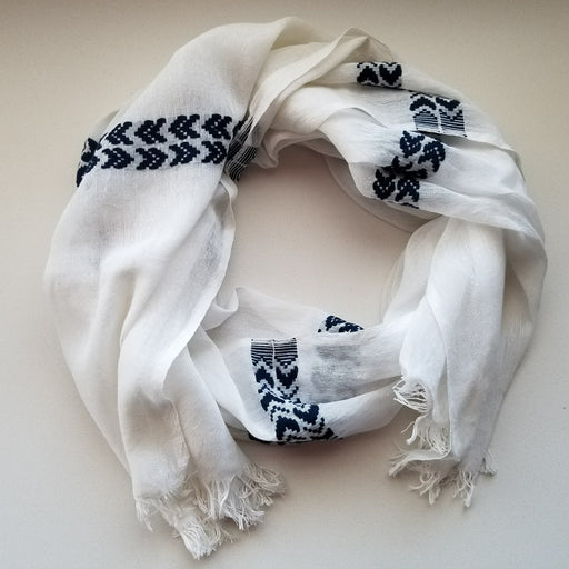 Aster Scarf in White with Indigo