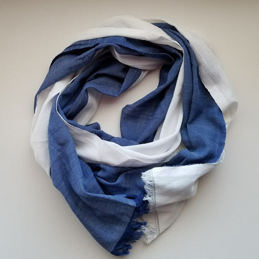 Alem Scarf in White & Indigo