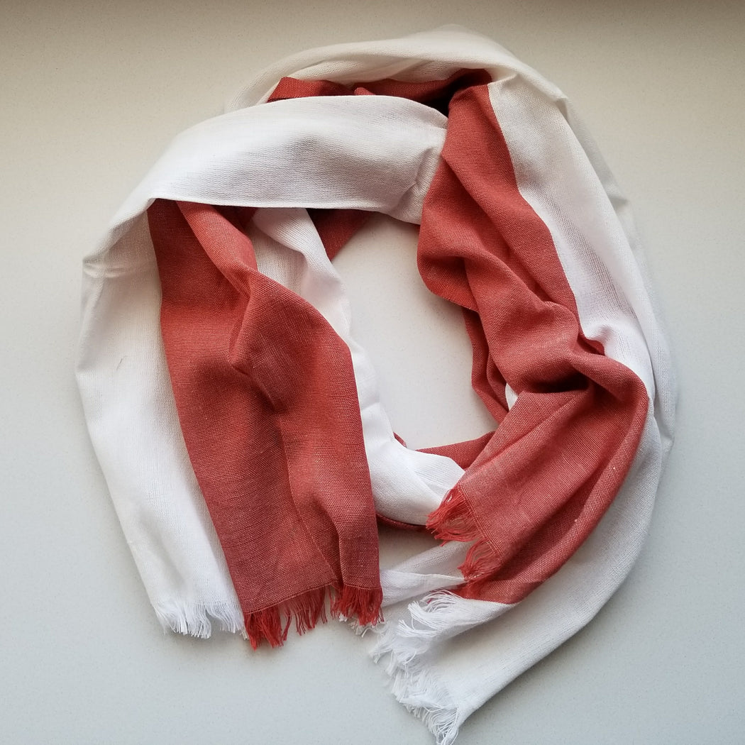 Alem Scarf in White & Burnt Red