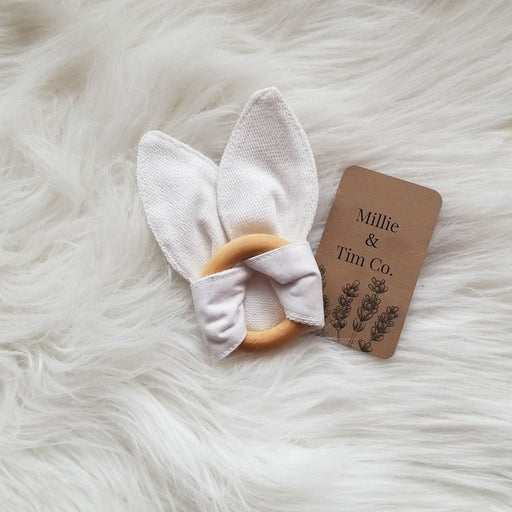 Bunny Ears Organic Teething Ring (cream)