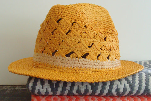 Avery Crochet Fedora in Sunflower