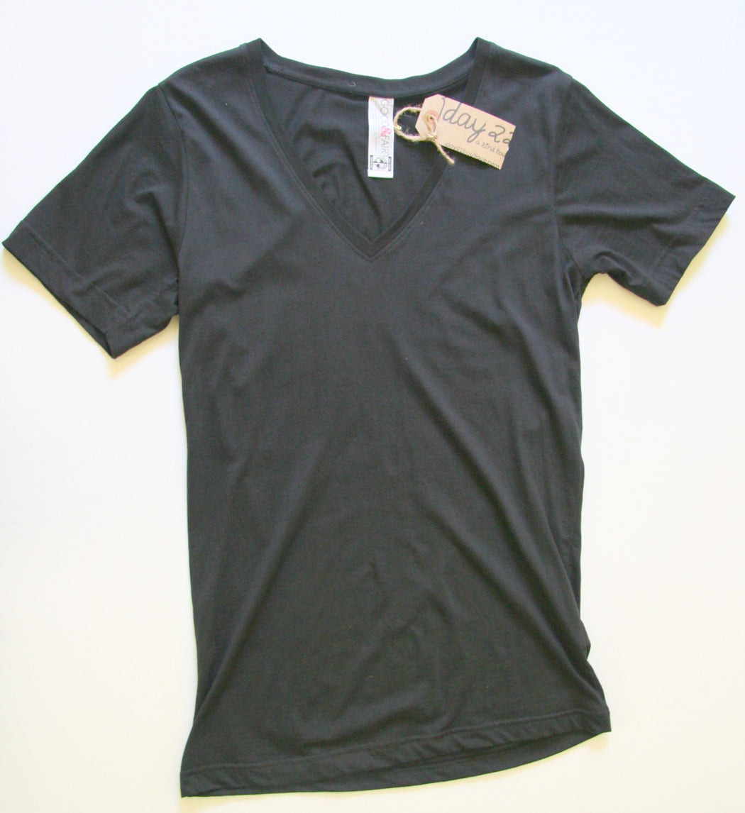Organic V Neck Tee in Black