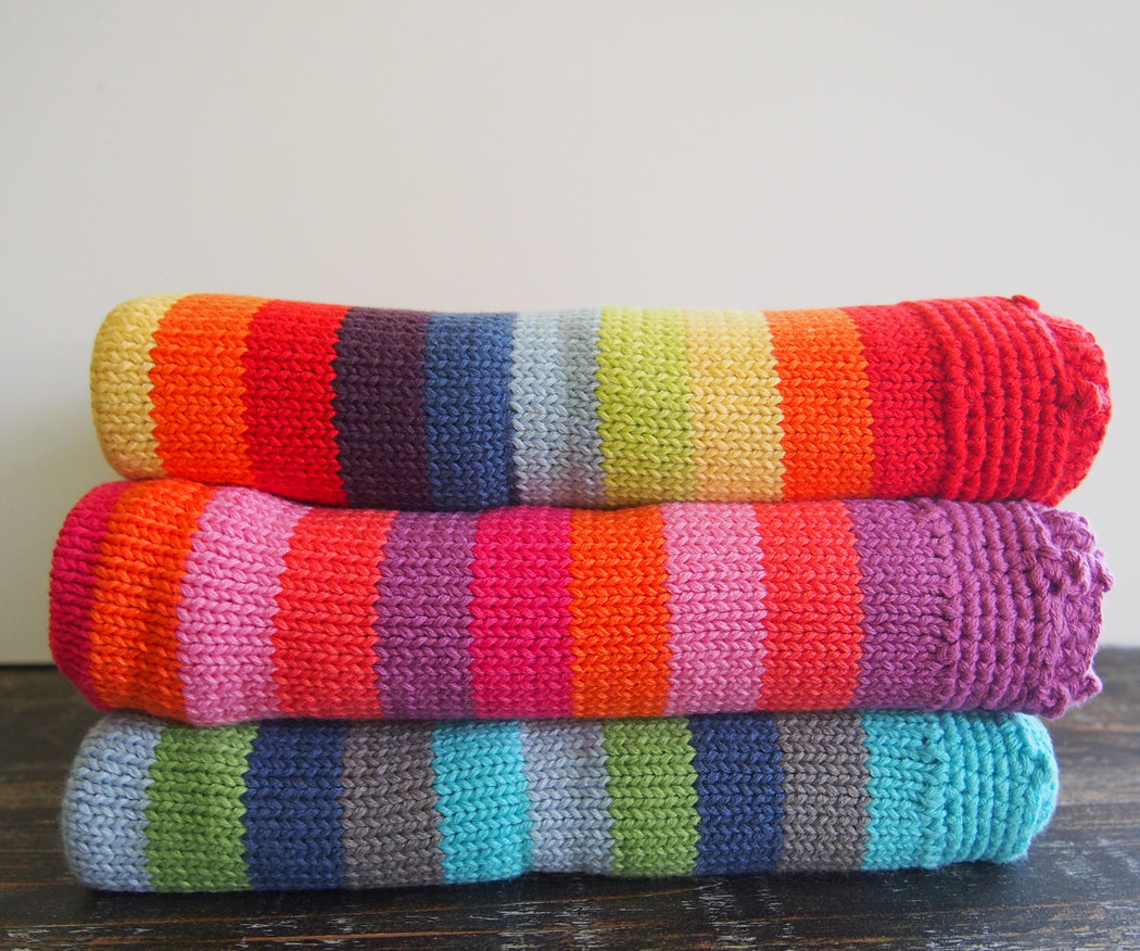 Pebble Organic Knit Baby Blanket in Rainbow Stripes
