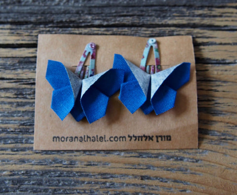 Origami Butterfly Hair Clip in Blue