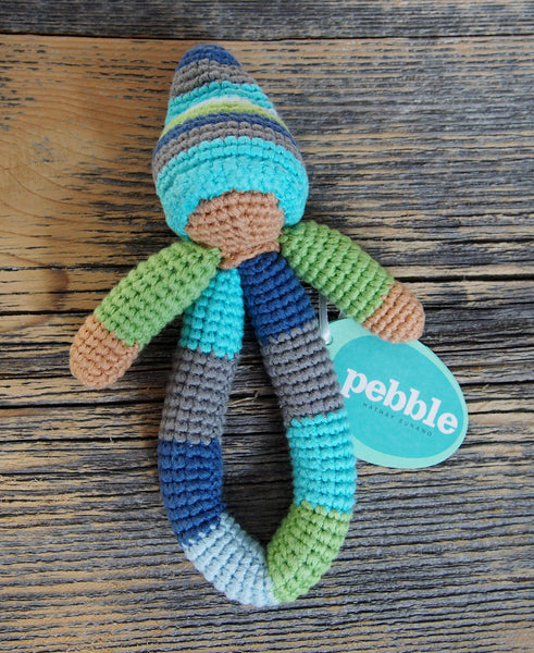 Pebble Pixie Ring Rattle in Blue