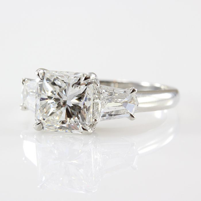 3.22 Carat Radiant Cut Diamond F-SI1 Platinum Engagement Ring