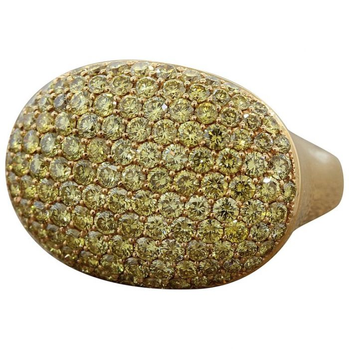 Fancy Yellow Diamond Pave Gold Ring